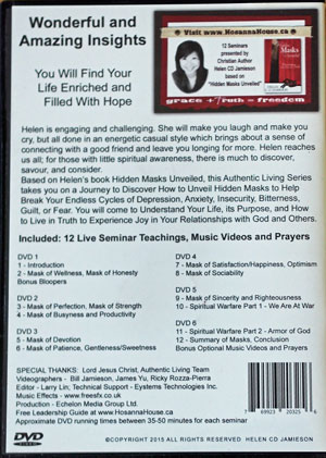 Back cover of Authentic Living DVD series.